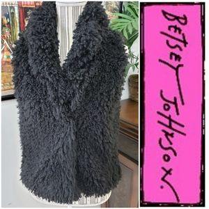 Betsy Johnson Plush Black Micro Fiber Vest